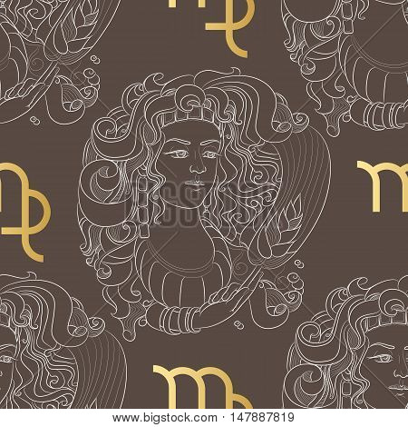 Hand drawn line art of decorative zodiac sign Virgo. Horoscope vintage seamless pattern in zentangle style.