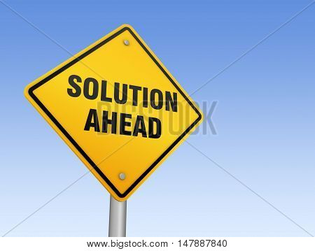 solution ahead road sign 3d concept illustration on sky background
