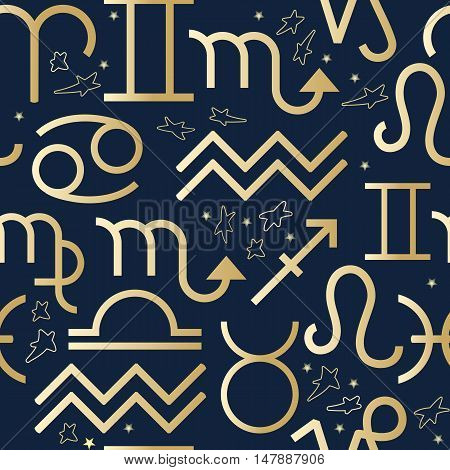 Seamless pattern with line art of decorative zodiac sign Virgo Libra Leo Scorpio Gemini Cancer Taurus Aries Pisces  Aquarius Capricorn Sagittarius and stars on dark background.