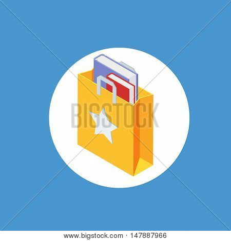 Paper shopping bag isolated on white background. Isometric flat 3d icon. Paper shopping bag with books. Vector illustration