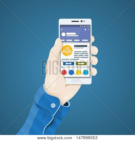 Phone in hand vector illustration in flat style. Man's hand holding a phone concept. White Smartphone with internet shop on the screen. Ecommerce. Mobile app vector clipart
