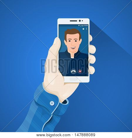 Phone in hand vector illustration in flat style. Man's hand holding a phone concept. Online video conferencing. Video call on the screen of white smartphone. Mobile app vector clipart