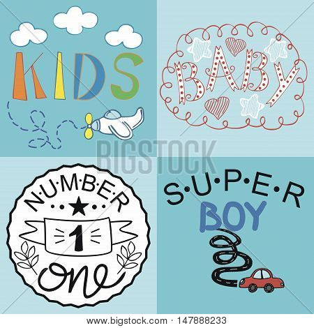 Four kids logo handwriting Baby Kids Super boy Number one. Childrens lettering.
