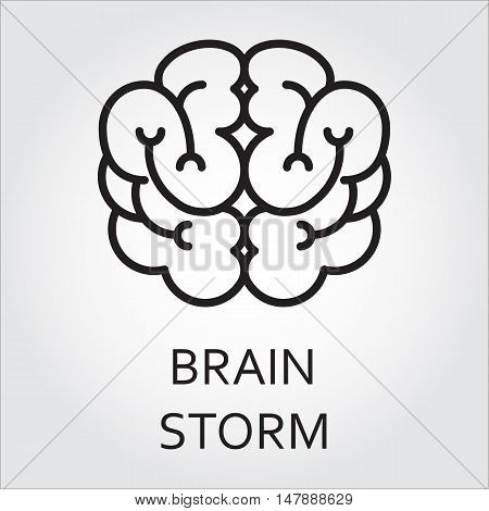 Black flat line vector icon with a picture of brainstorm as brain on white background.