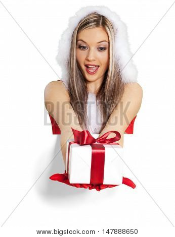 Santa's Helper Giving a Present - Isolated