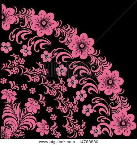illustration with pink flower quadrant ornament