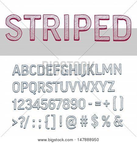 decorative upper case striped alphabet letters, high detailed vector set