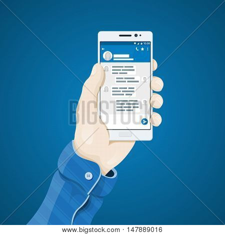 Hand with phone vector illustration in flat style. Man's hand holding a phone concept. The mobile app messenger. Exchange Online Messaging. Dialogue with your phone. Mobile app vector clipart