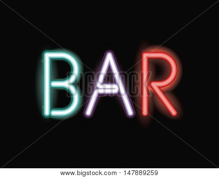 Bar neon font icon. Text typography decoration and advertising theme. Colorful design. Vector illustration