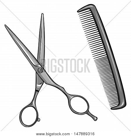 Vector Scissors And Comb