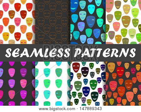 Seamless Pattern With Colorful Masks. Vector Illustration.