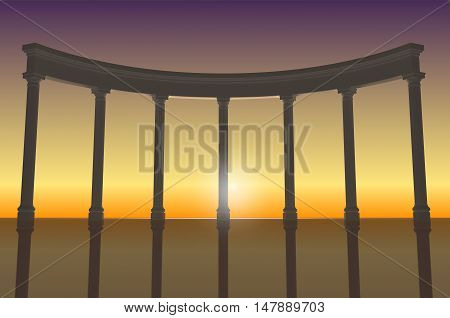 3D illustration of a white colonnade in the background of sunset evening