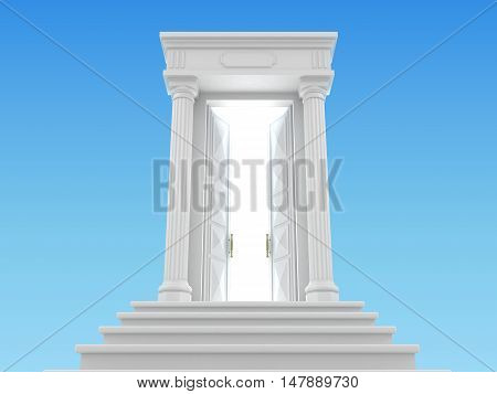 3D illustration of the heavenly ladder in the sky with a white portico and the door behind which the light