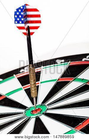 Closeup of a Dart with American Flag in Bullseye