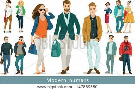 A group of modern people. Set of vector illustrations. Isolated objects.