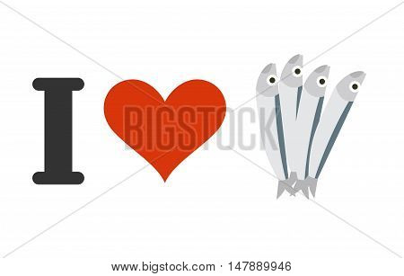 I Love Anchovies. Heart And Small Fish. Logo For Seafood Lovers