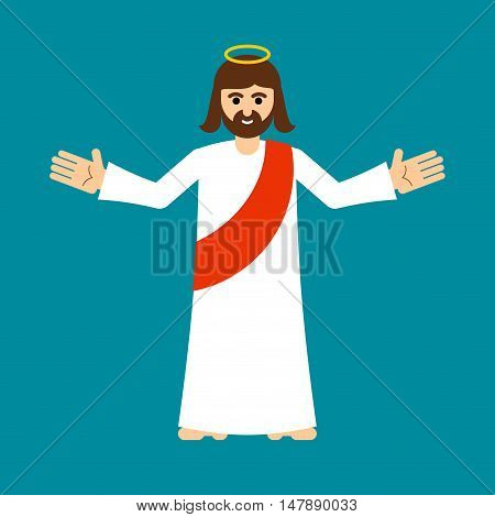 Jesus Christ Is Son Of God Isolated. Holy Man Open Arms