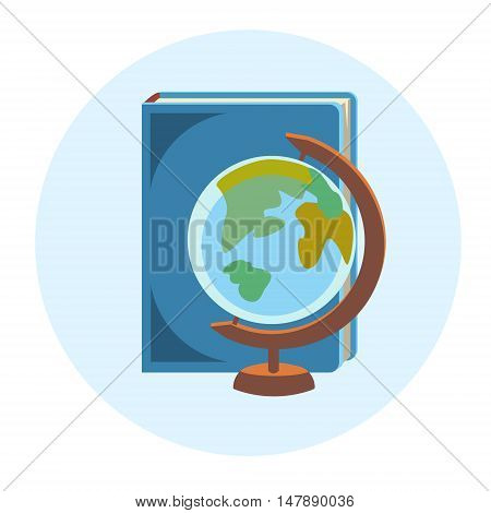 Books Globe School Geography Education Colorful Web Icon Flat Vector Illustration