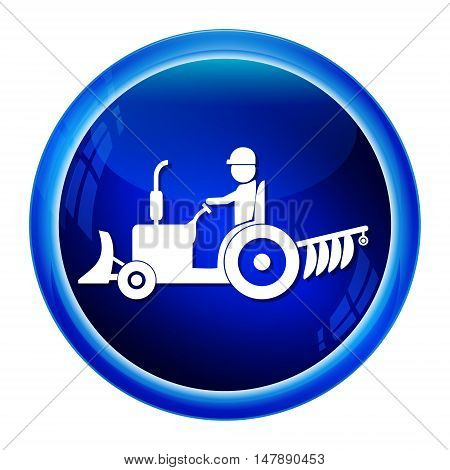 Tractor and driver icon Agriculture tractor icon vector illustration
