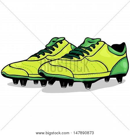 Vector Cartoon Light Green Soccer Boots