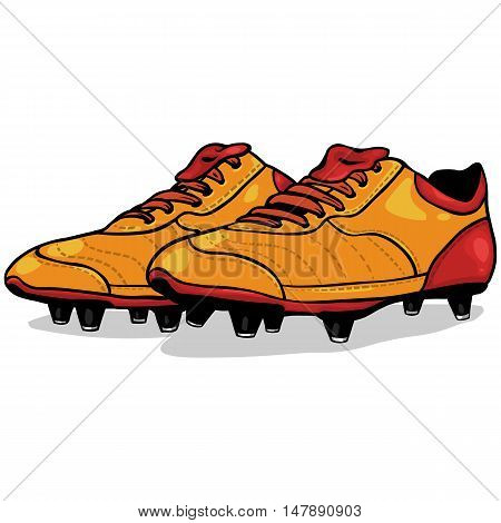 Vector Cartoon Orange And Red Soccer Boots