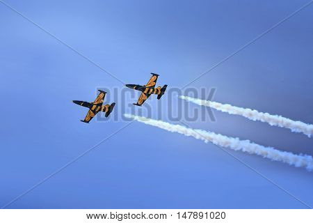 RAMENSKOE, RUSSIA - AUGUST 22, 2009: Aerobatic team in action during an exhibition