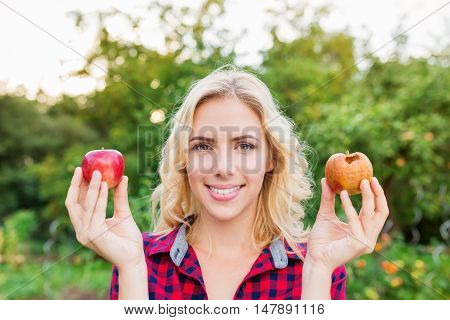 Beautiful young blond woman in checked red shirt harvesting apples, holding in her hands one rotten and one good apple
