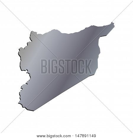 3D Vector Syria Map Aluminium Border Outline