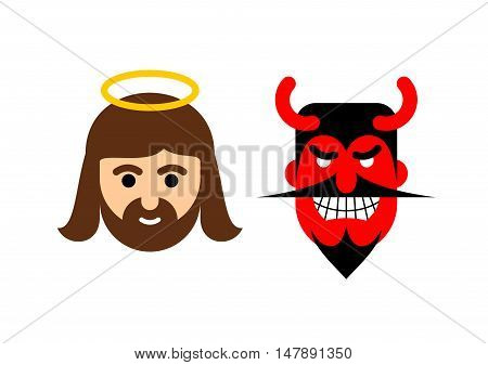 Jesus And Satan Flat Icon. Holy Man Christ And Red Demon With Horns. Son Of God With Halo And Devil
