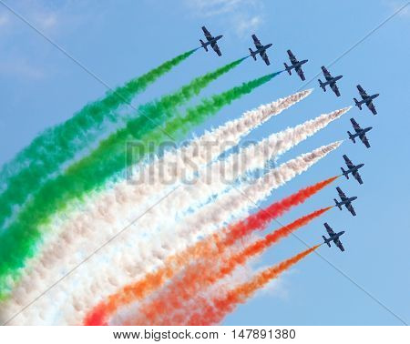 Famous Italian Flying Team Frecce Tricolori In Action During An Airshow