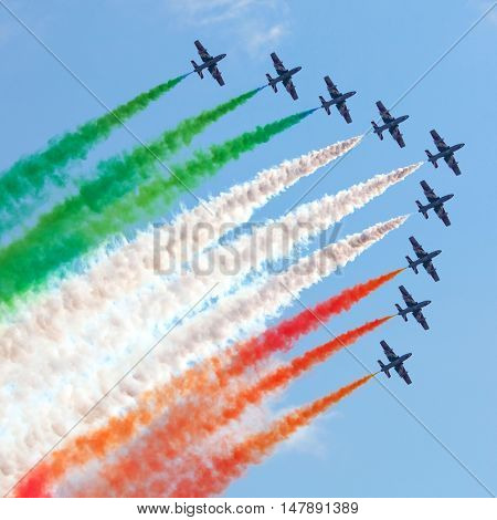 RAMENSKOE, RUSSIA - AUGUST 22, 2009: Aerobatic Italian team Frecce Tricolori in action during an exhibition