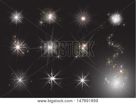 Shine stars with glitters and sparkles. Effect twinkle design glare scintillation element sign graphic light vector illustration