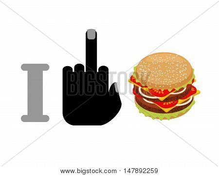 I Hate Hamburger. Fuck And Burger. Logo For Healthy Food. Against Fast Food