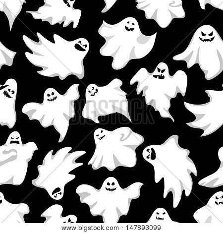 Gosts helloween background. Spookys holiday seamless background.Vector illustration