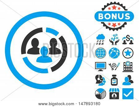 Demography Diagram icon with bonus images. Glyph illustration style is flat iconic bicolor symbols, blue and gray colors, white background.