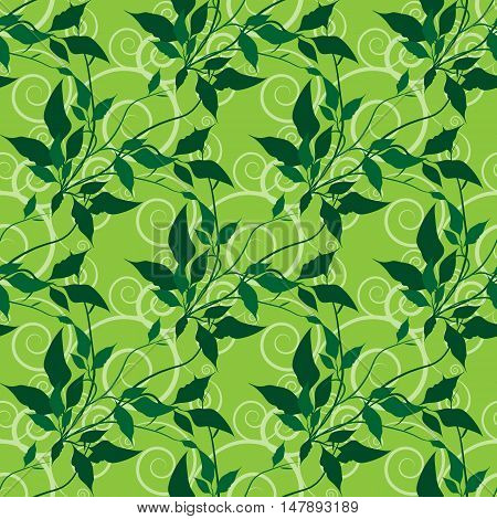 floral seamless vector pattern . Leaves and stems over abstract curly pattern. Eps10