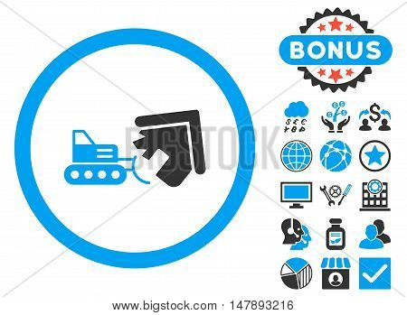 Demolition icon with bonus images. Glyph illustration style is flat iconic bicolor symbols, blue and gray colors, white background.