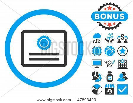 Diploma icon with bonus symbols. Glyph illustration style is flat iconic bicolor symbols, blue and gray colors, white background.