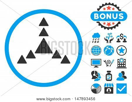 Direction Triangles icon with bonus design elements. Glyph illustration style is flat iconic bicolor symbols, blue and gray colors, white background.