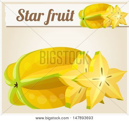 Star fruit Carambola. Cartoon vector icon. Series of food and drink and ingredients for cooking.