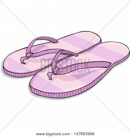 Vector Cartoon Stripped Pink Beach Slippers