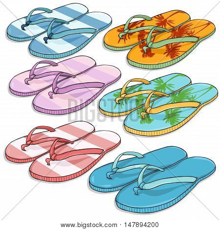 Vector Set Of Cartoon Beach Slippers