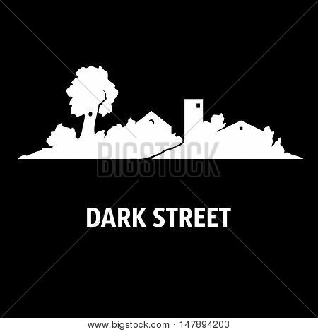 Illustration of street with cottages and trees at night. Silhouettes. White on black.