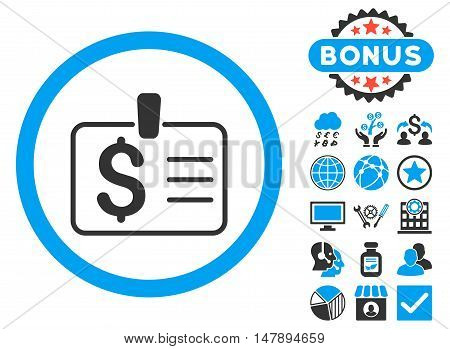 Dollar Badge icon with bonus design elements. Glyph illustration style is flat iconic bicolor symbols, blue and gray colors, white background.