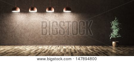 Four Lamps And Plant Over Blue Concrete Wall 3D Rendering