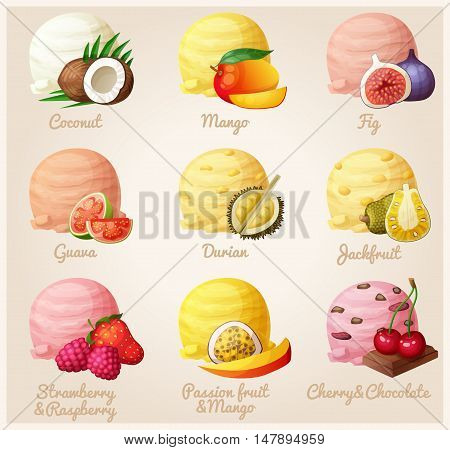 Set of cartoon vector icons. Ice cream scoops with different fruit and berry flavors. Coconut, mango, fig, guava, durian, jackfruit, strawberry and raspberry, mango and passion fruit, cherry and chocolate. Part 3