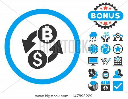 Dollar Bitcoin Exchange icon with bonus pictures. Glyph illustration style is flat iconic bicolor symbols, blue and gray colors, white background.