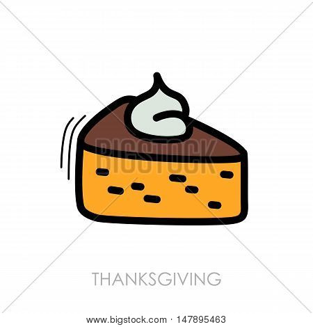 Piece of pumpkin pie served with whipped cream on the top icon. Harvest. Thanksgiving vector illustration eps 10