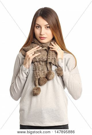 Blonde Young Woman With Warm Brown Wool Scarf Isolated