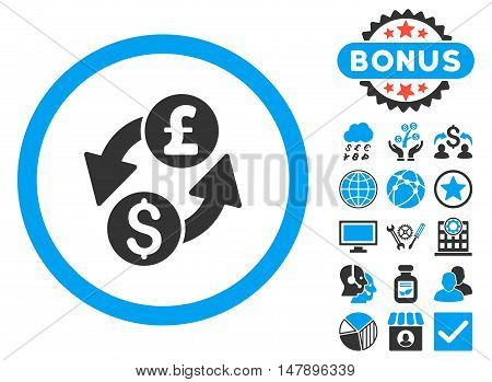 Dollar Pound Exchange icon with bonus elements. Glyph illustration style is flat iconic bicolor symbols, blue and gray colors, white background.